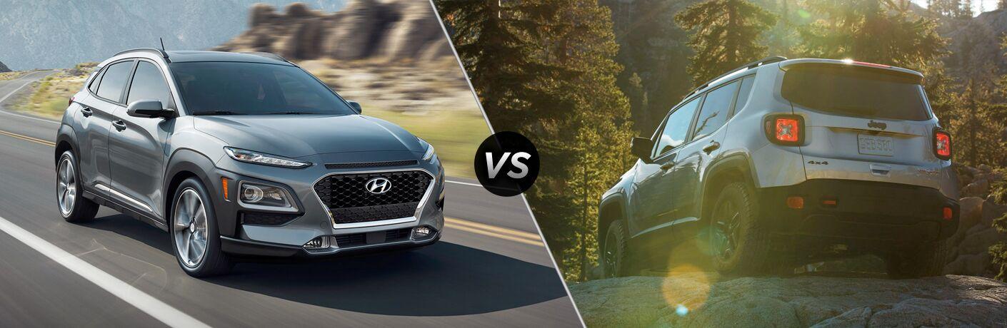 2018 Hyundai Kona vs 2018 Jeep Renegade exterior view of both cars