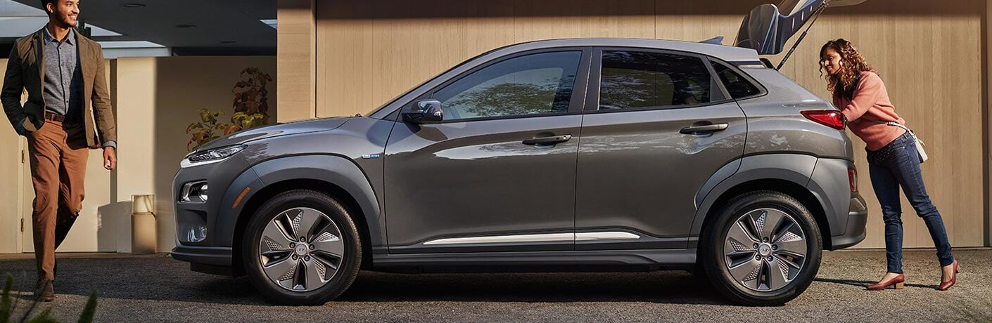 silver 2019 Hyundai Kona with trunk open