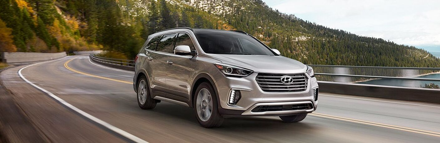 silver 2019 Hyundai Santa Fe XL by a lake