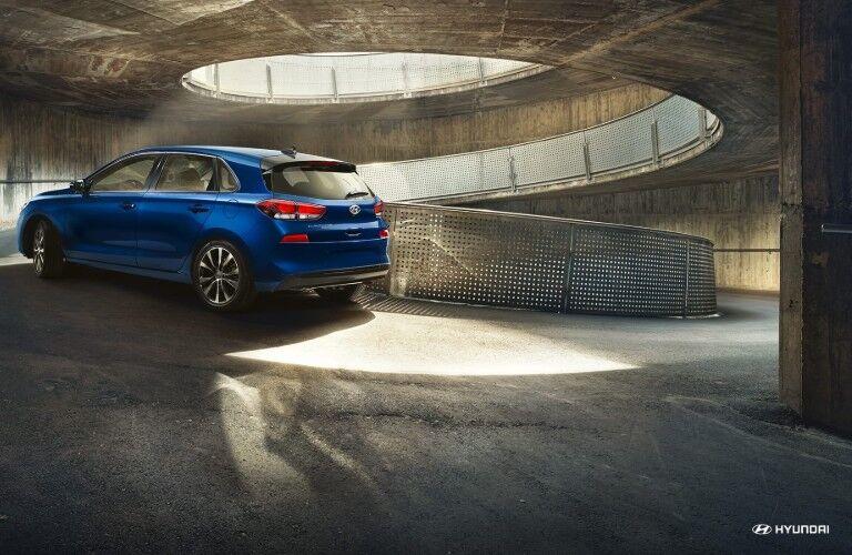 blue 2019 Hyundai Elantra GT in a parking garage