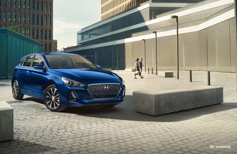 blue 2019 Hyundai Elantra GT in a city