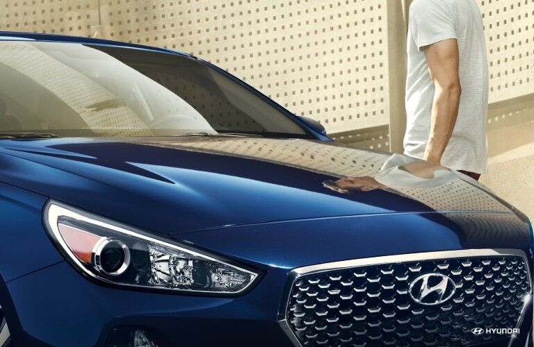 blue 2019 Hyundai Elantra GT front grille