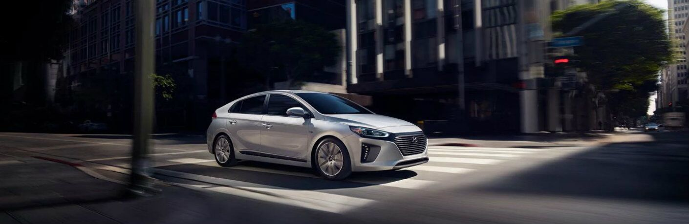silver 2019 hyundai ioniq hybrid in city
