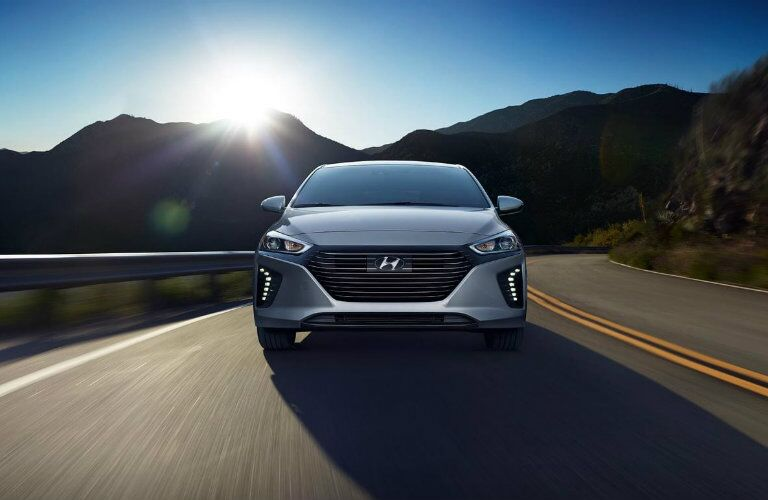 silver 2019 hyundai ioniq hybrid front view on road