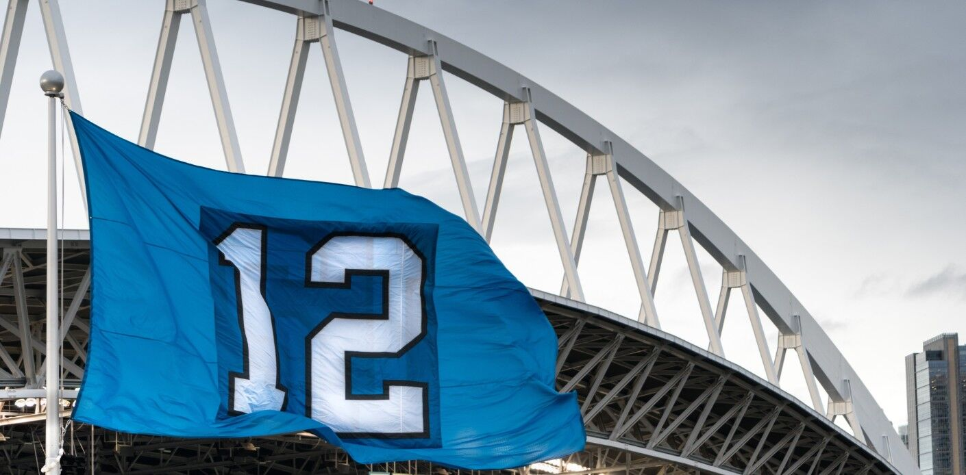 Image of the 12th Man flag outside of the Seattle Seahawks stadium