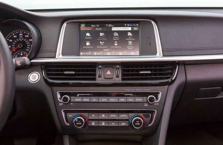 Interior view of the touch-screen display inside a 2020 Kia Optima