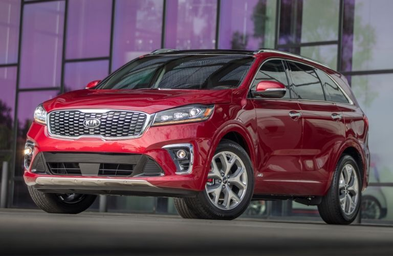 Exterior view of the front of a red 2020 Kia Sorento
