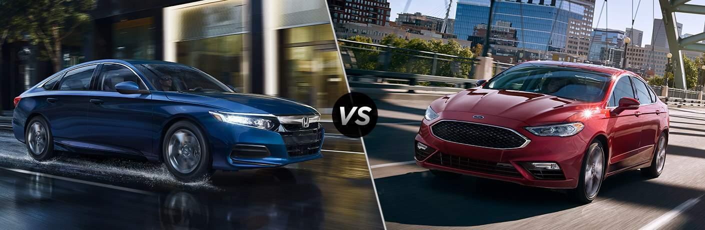 2018 Honda Accord vs 2018 Ford Fusion exterior front view of both cars
