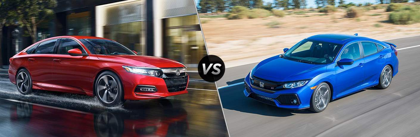 2018 Honda Accord vs 2018 Honda Civic exterior view of both cars