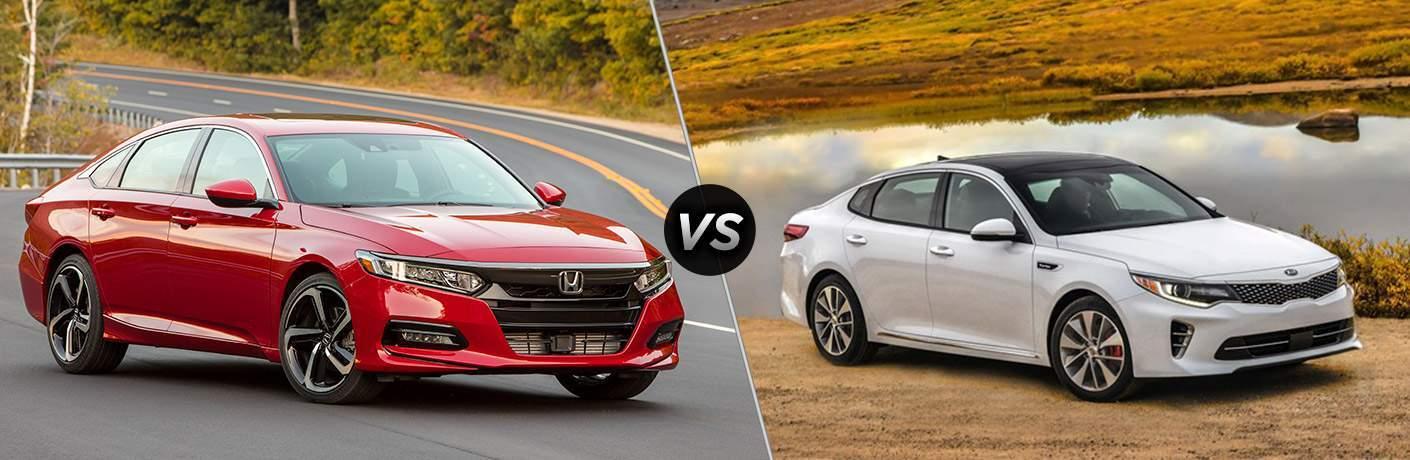 2018 Honda Accord red front view vs 2018 Kia Optima white front view