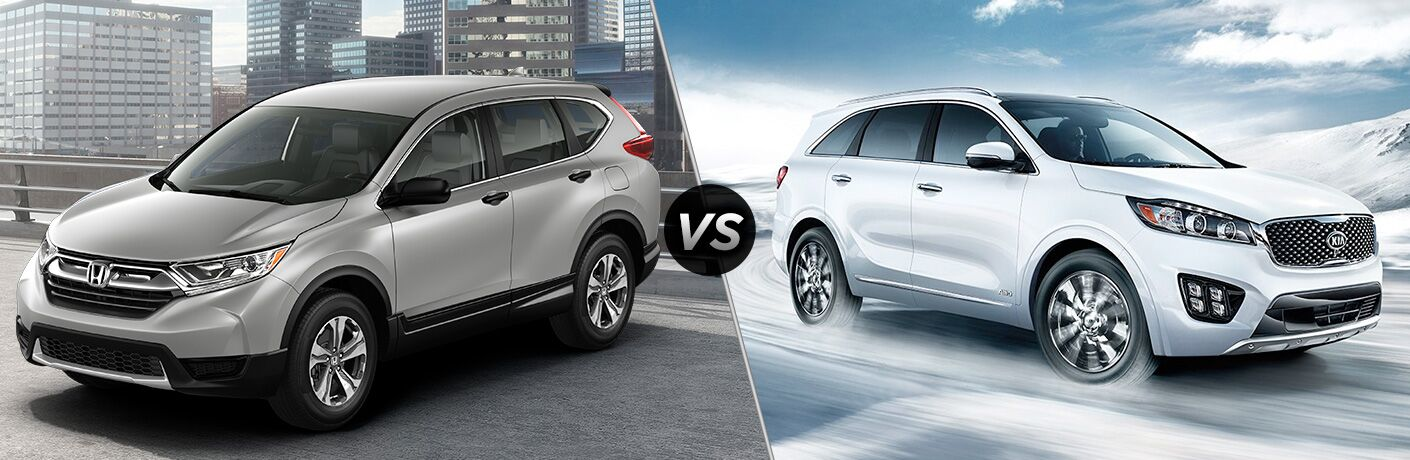 2018 Honda CR-V vs 2018 Kia Sorento exterior images of both crossovers