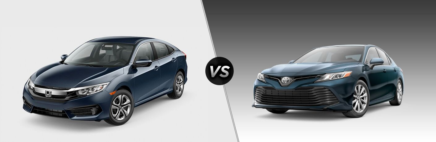 2018 Honda Civic vs 2018 Toyota Corolla front exterior of both cars