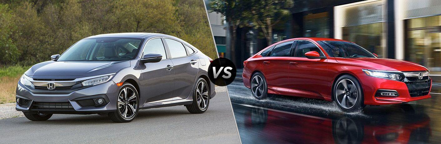 Gray 2018 Honda Civic Sedan on a Country Road vs Red 2018 Honda Accord on a City Street in the Rain