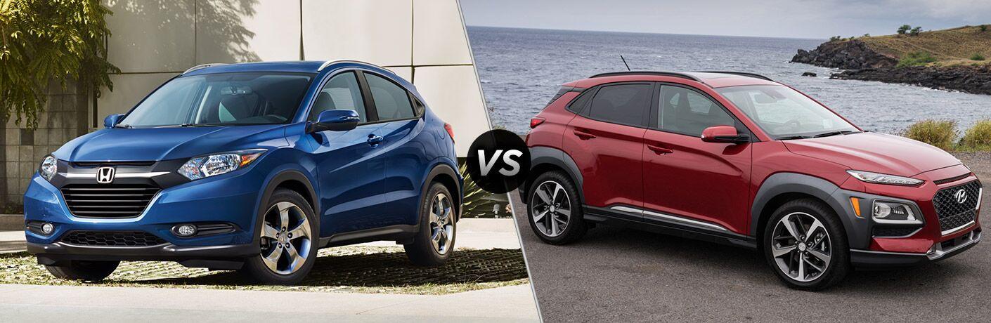 2018 Honda HR-V vs 2018 Hyundai Kona exterior of both crossovers
