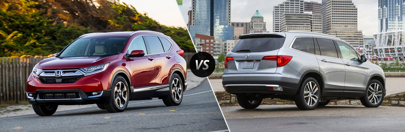 2018 Honda CR-V vs 2018 Honda Pilot exterior of both vehicles