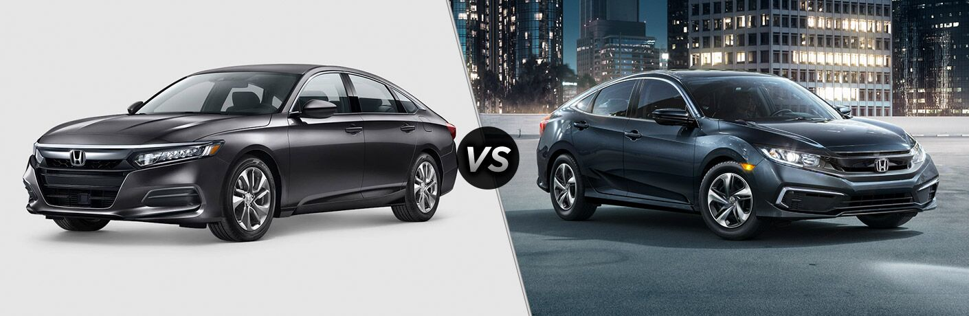 Black 2019 Honda Accord LX on White Background vs Gray 2019 Honda Civic Sedan LX in a Parking Structure