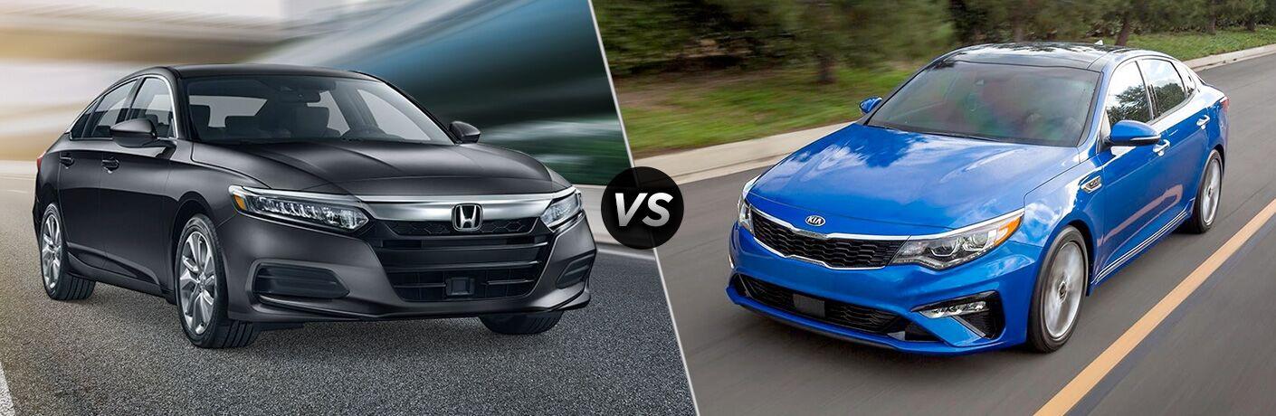 Gray 2019 Honda Accord LX on an Asphalt Road vs Blue 2019 Kia Optima on a Country Highway