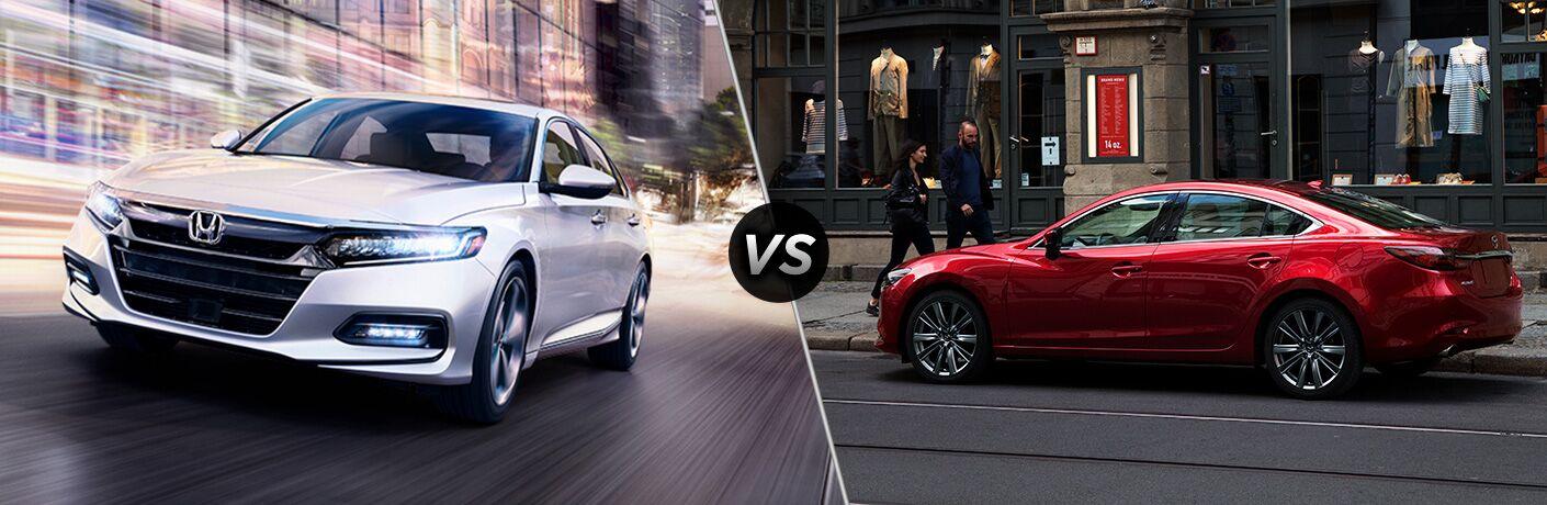 White 2019 Honda Accord on a City Street vs Red 2019 Mazda6 on a City Street