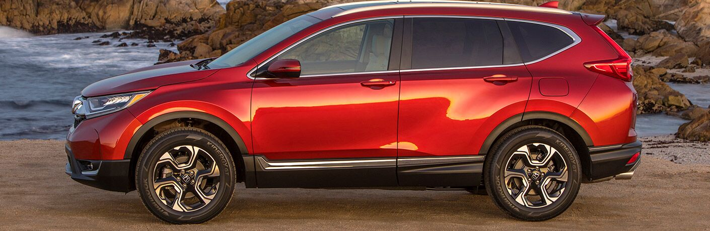 Red 2019 Honda CR-V Side Exterior at the Beach