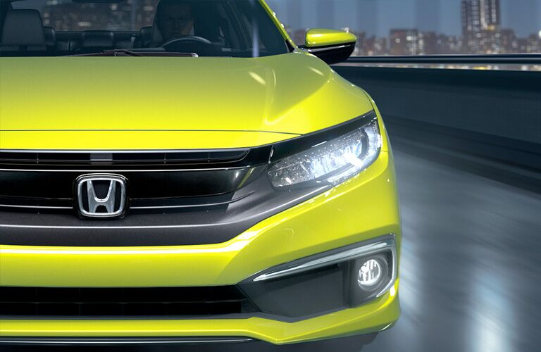 Close Up of 2019 Honda Civic Coupe Grille and Headlights