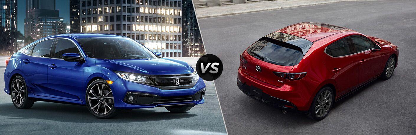 Blue 2019 Honda Civic Sedan on Parking Structure vs Red 2019 Mazda3 Hatchback Rear on a City Street