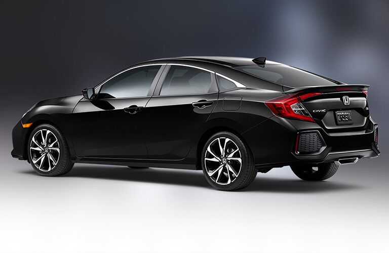Black 2019 Honda Civic Sedan Side and Rear Exterior on a Gray Background