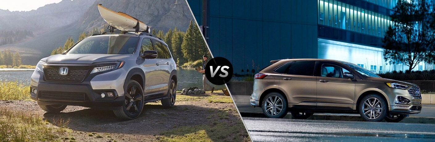 Gray 2019 Honda Passport at the Lake with Kayak on the Roof vs Gold 2019 Ford Edge on a City Street