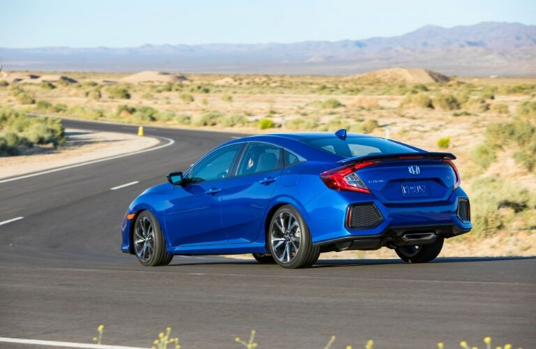 Blue 2019 Honda Civic Rear Exterior on a Country Road