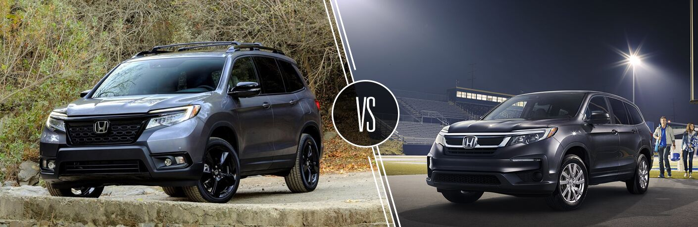 Gray 2019 Honda Passport on a Rocky Trail vs Black 2019 Honda Passport Next to a Football Field
