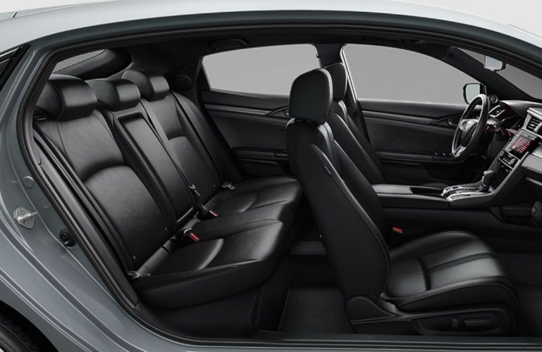 2018 Honda Civic Hatchback profile view of black leatherette seating