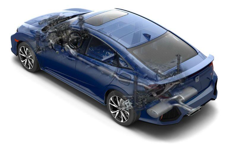 ghosted image of 2019 Honda Civic Si Sedan to show powertrain