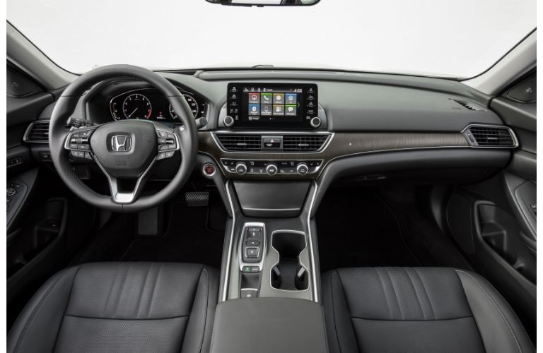 2020 Honda Accord Touring interior shot of front seating, transmission, steering wheel, and dashboard materials and design