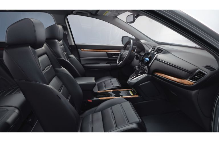 2020 Honda CR-V Touring interior side shot of front seating upholstery and dashboard
