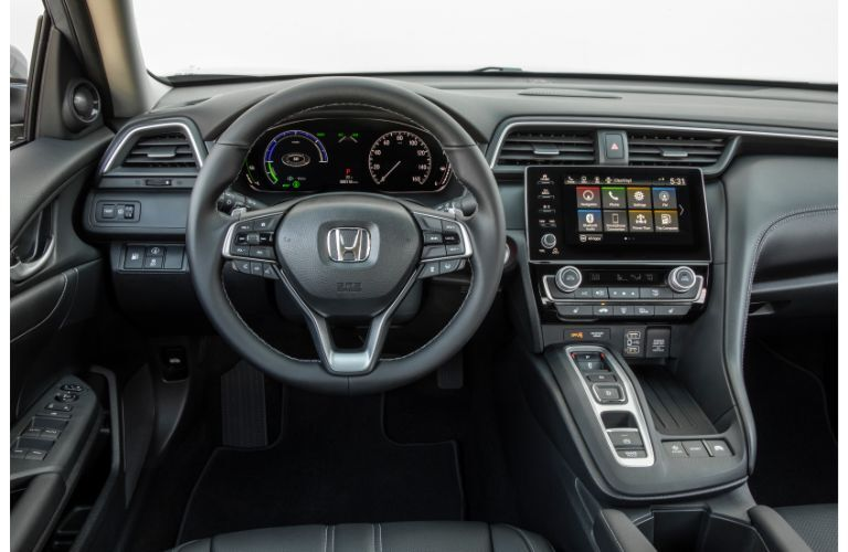 2020 Honda Insight interior driver's seat view shot of steering wheel, infotainment screen, and dashboard