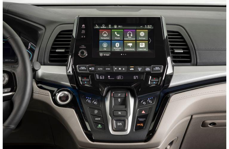 2020 Honda Odyssey interior shot closeup of driver console infotainment system screen