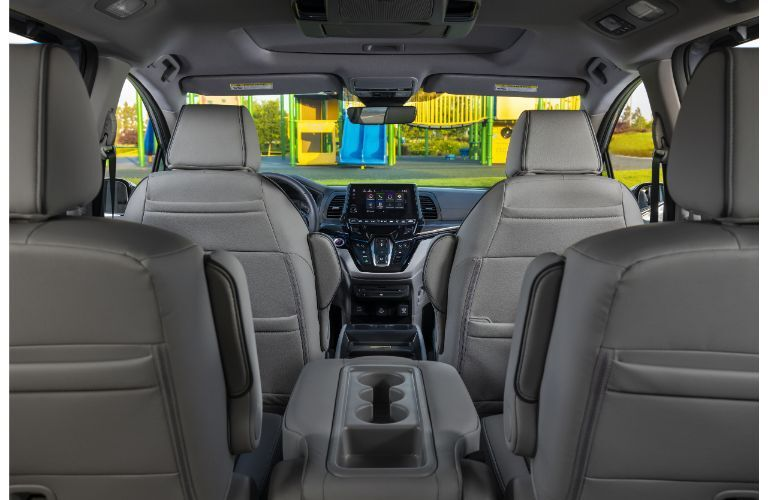 2022 Honda Odyssey interior shot of seating rows and rear entertainment system