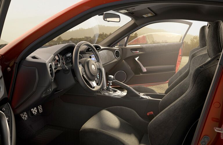 View of red 2018 Toyota 86 interior with both doors open