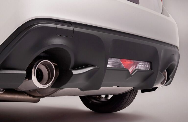 View of silver 2018 Toyota 86 rear bumper and chrome dual exhaust