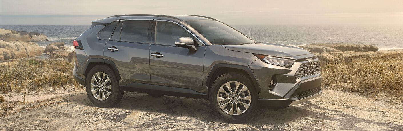 2019 Toyota RAV4 SUV exterior shot with dark gray paint color parked on a rock plateau in a bare wilderness