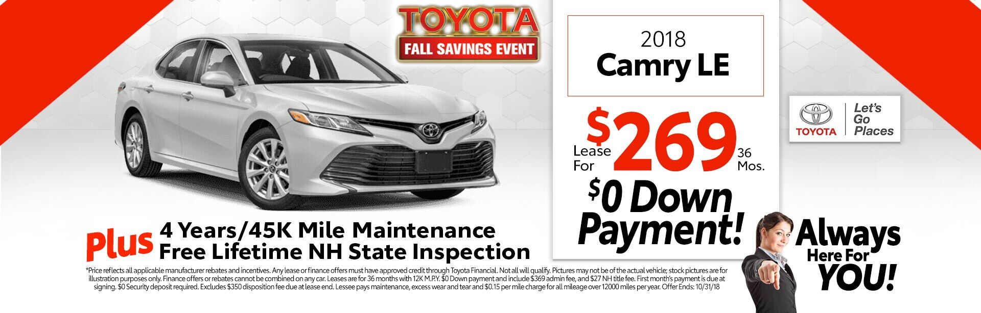 2018 Toyota Camry LE for as low as $269 a month for 36 months