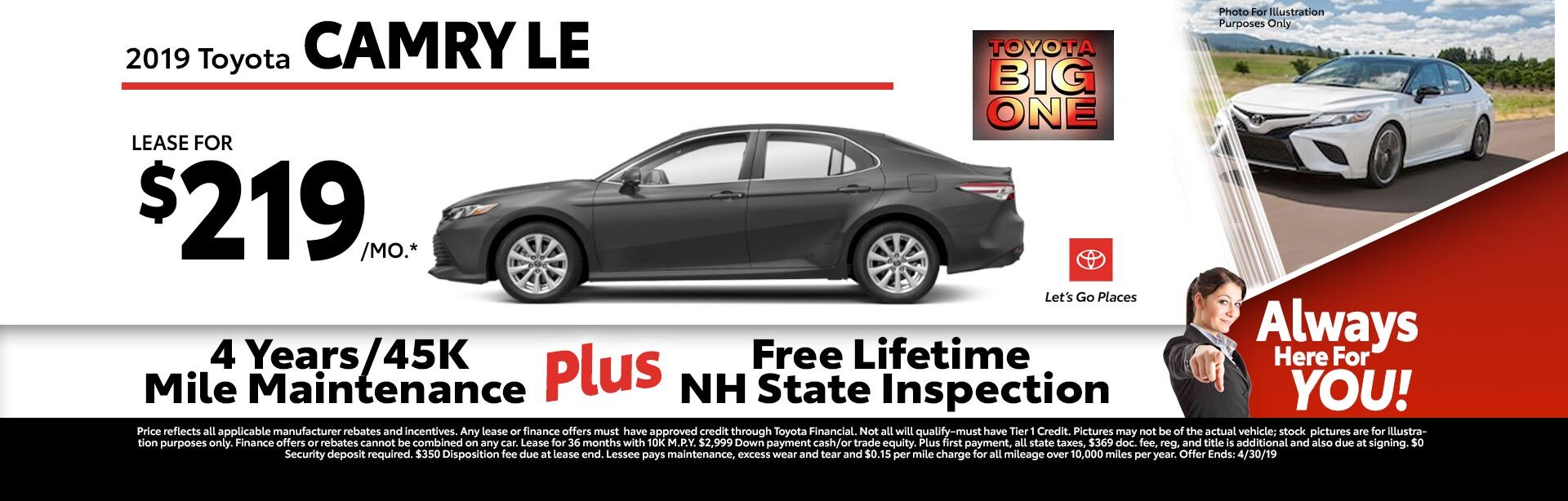 2019 Toyota Camry LE Special at McGee Toyota of Claremont