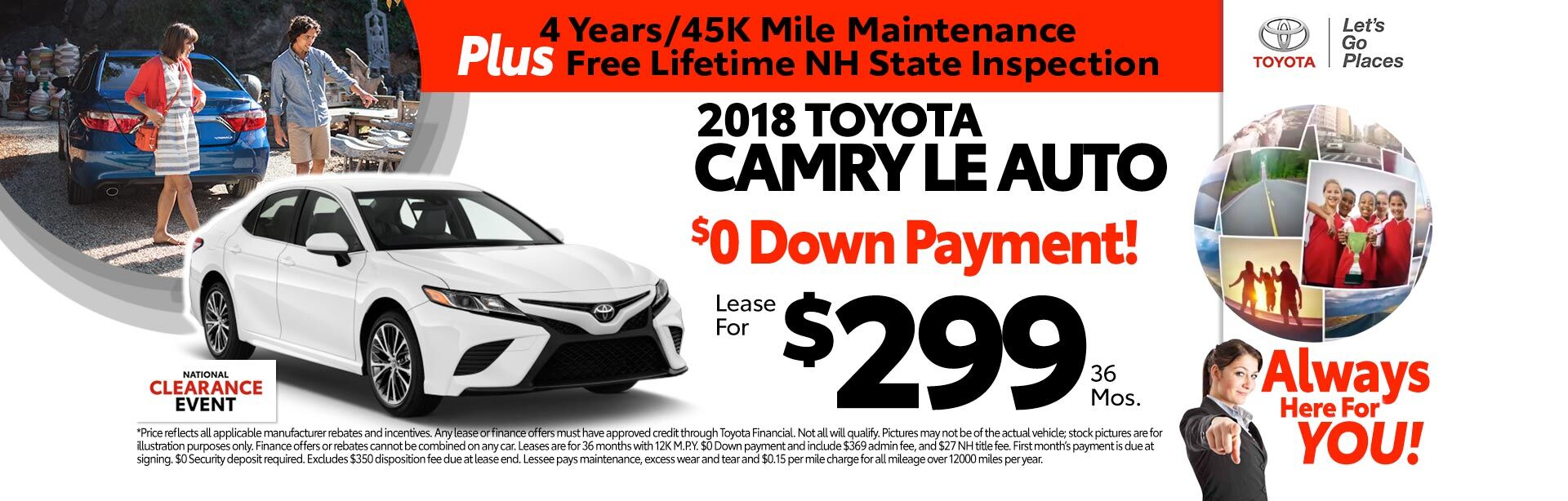 2018 Toyota Camry LE for as low as $299 a month for 36 months