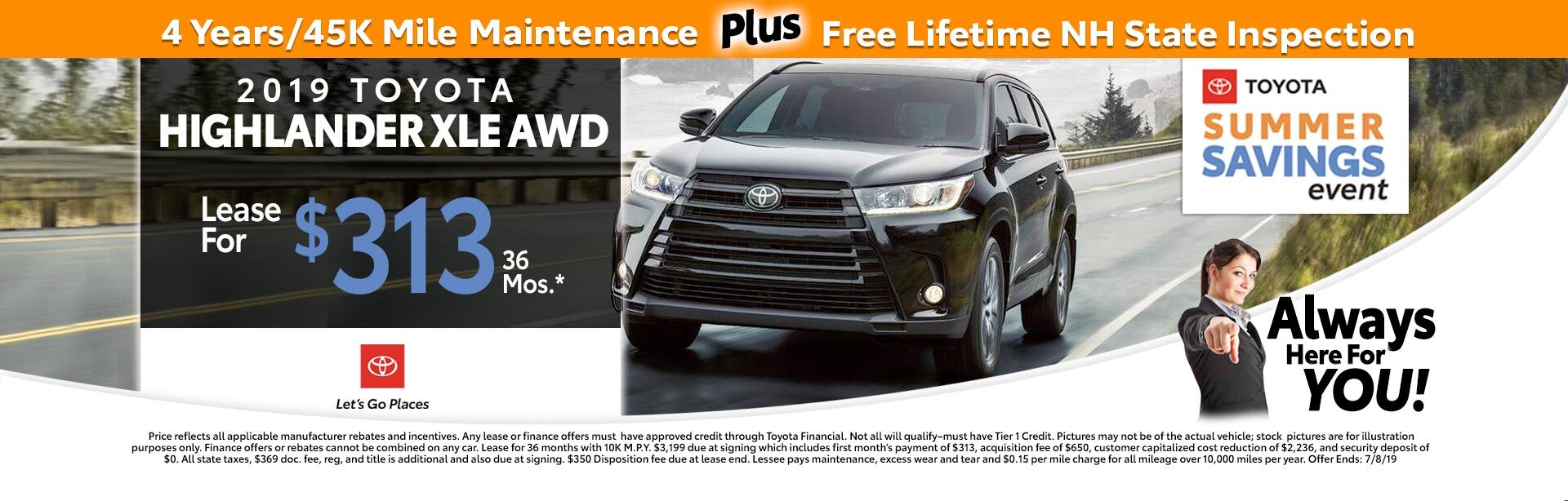 2019 Toyota Highlander LE V6 at McGee Toyota of Claremont