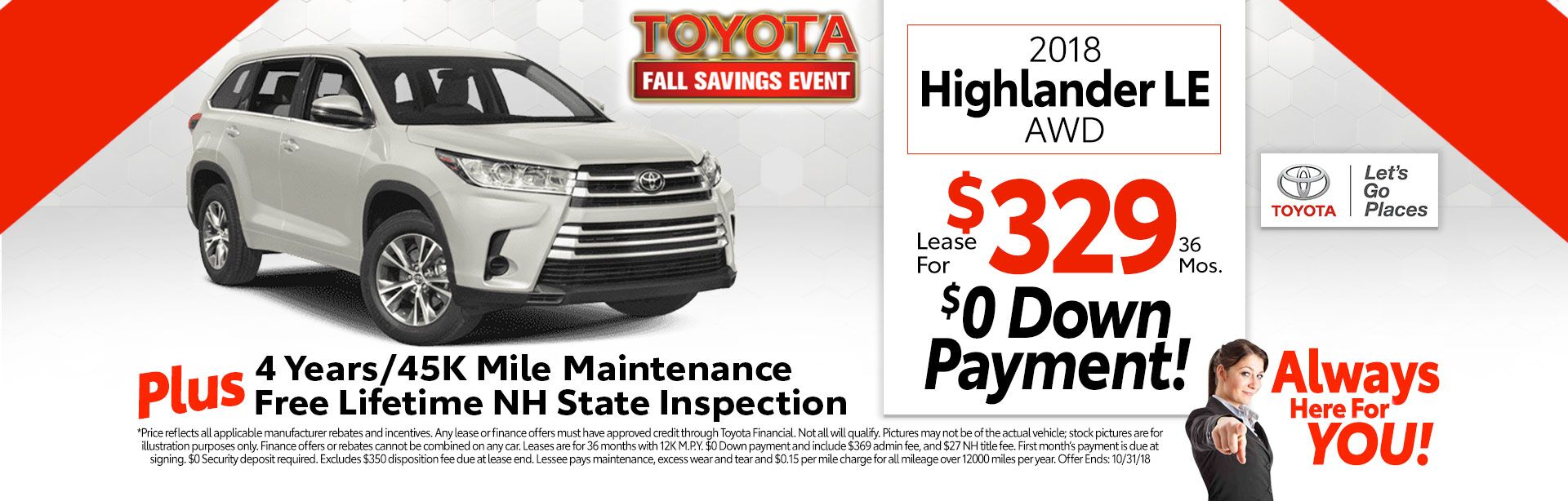 2018 Toyota Highlander LE V6 4WD for as low as $329 a month for 36 months