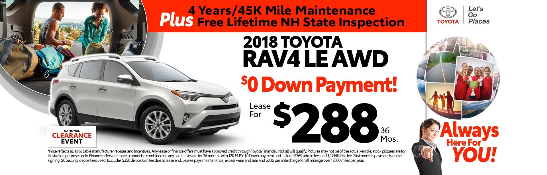 2018 Toyota RAV4 LE AWD for as low as $288 a month for 36 months