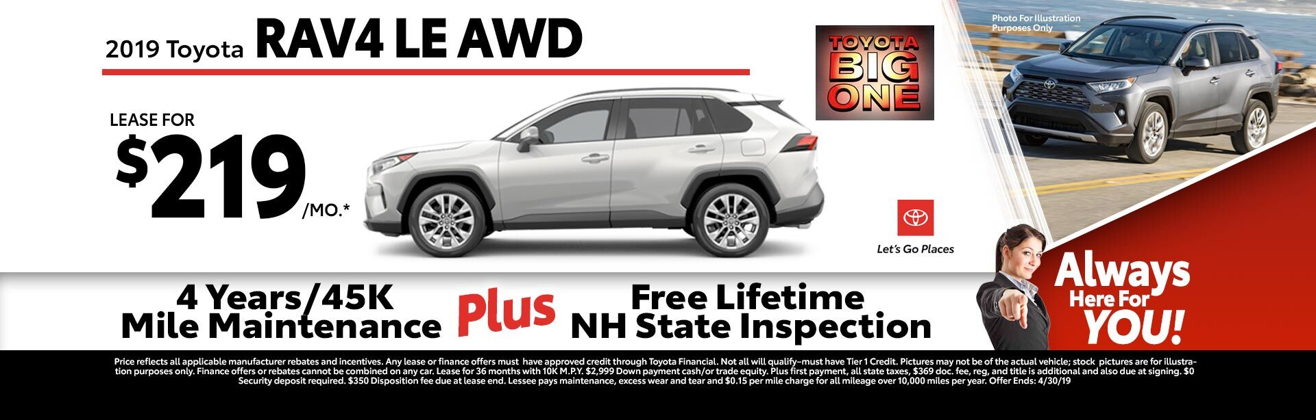 2019 Toyota RAV4 LE AWD at McGee Toyota of Claremont