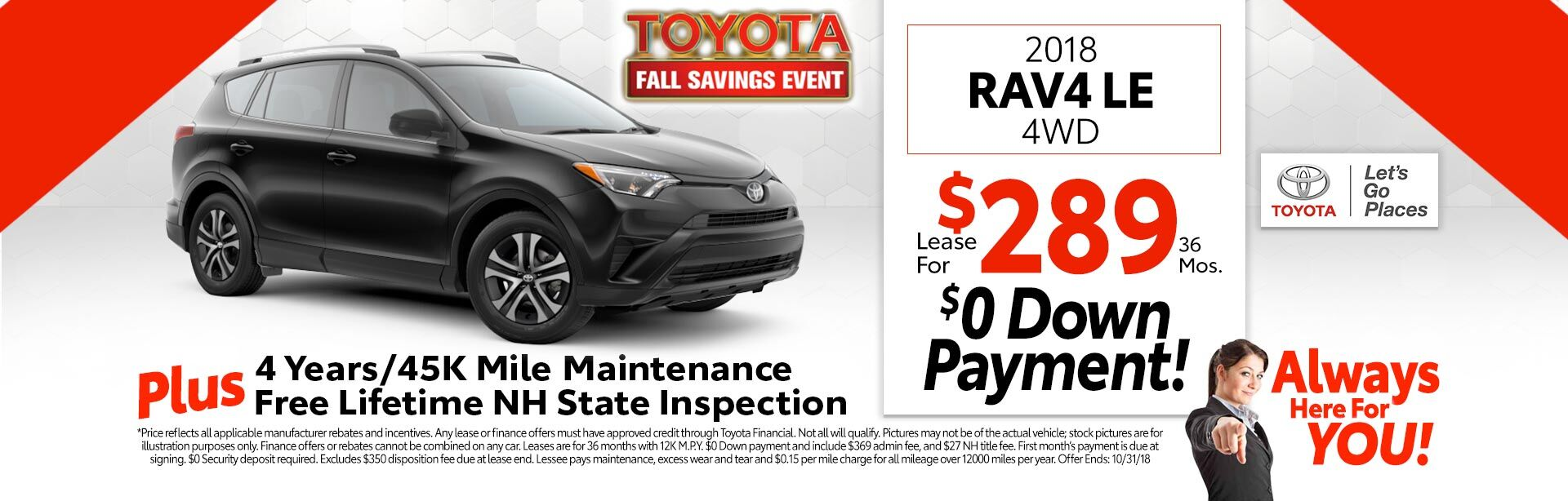 2018 Toyota RAV4 LE AWD for as low as $289 a month for 36 months