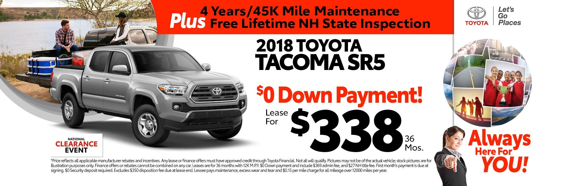 2018 Toyota Tacoma SR5 for as low as $338 a month for 36 months