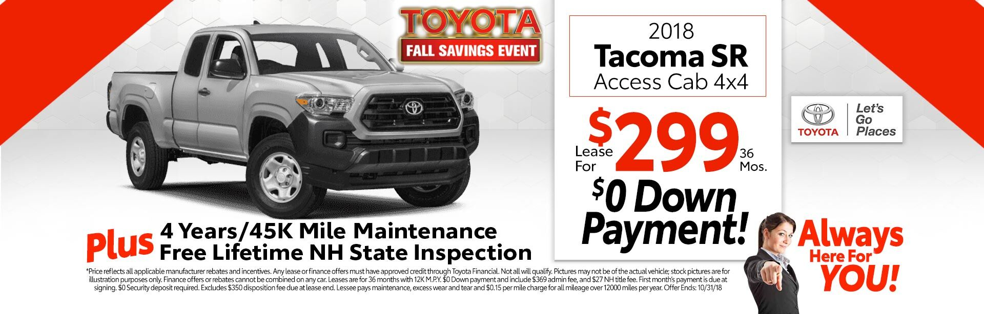 2018 Toyota Tacoma SR5 for as low as $299 a month for 36 months
