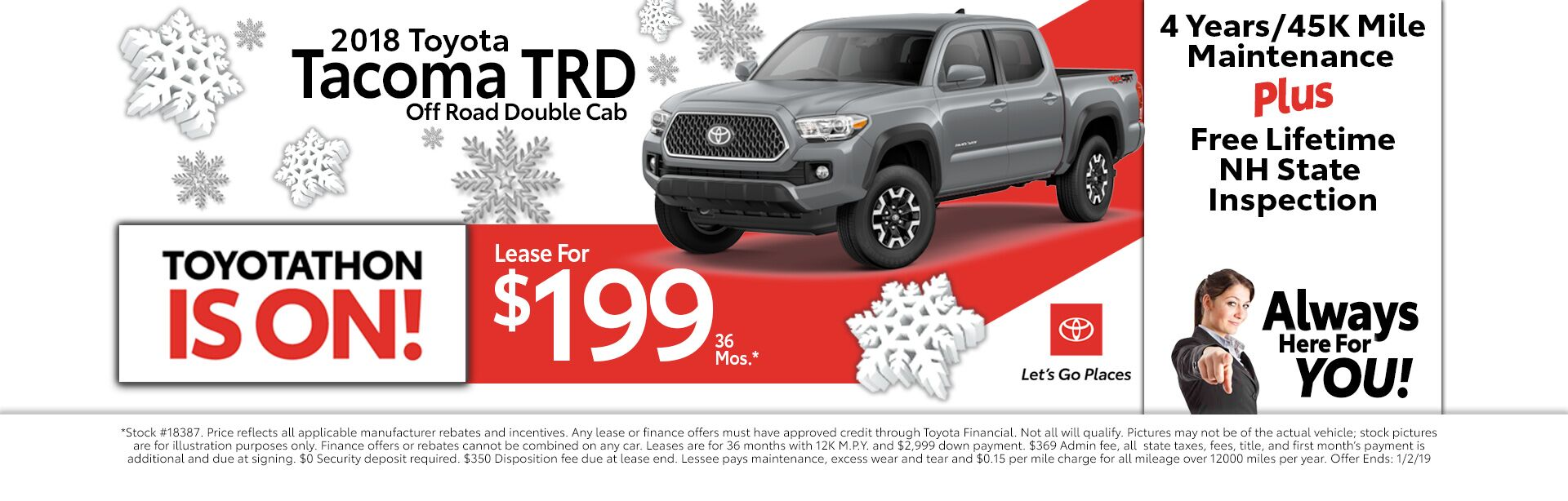 2018 Toyota Tacoma TRD for as low as $199 a month for 36 months
